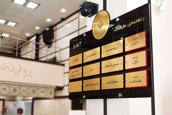 تابلوی راهنمای طبقات بانک ملی ایران